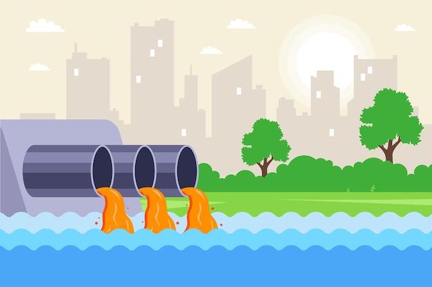 Ścieki komunalne odprowadzane są rurami do rzeki