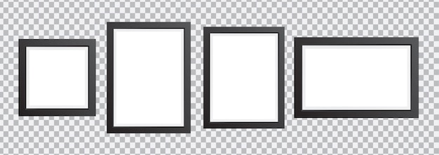 Ścienna ramka na zdjęcia w różnych rozmiarachramki na zdjęcia ustawione na przezroczystym tle