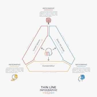 Ścięty trójkąt podzielony na 3 części, płaskie ikony i pola tekstowe. koncepcja trzech opcji biznesowych do wyboru. szablon projektu nowoczesny plansza. ilustracja wektorowa w stylu liniowym dla broszury.