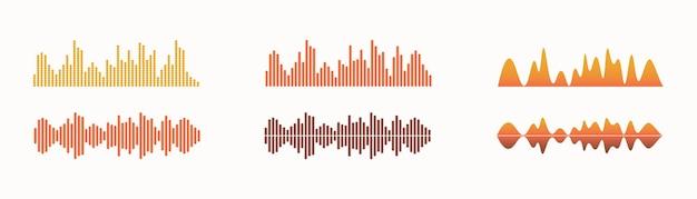 Ścieżka dźwiękowa korektora fali dźwiękowej zestaw izolowanych elementów wektorowych wizualny odtwarzacz audio