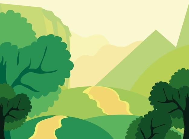 Ścieżka krajobrazowa wiejskie wzgórza drzew liści natura