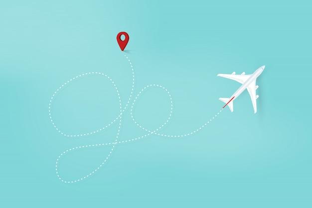 Ścieżka linii samolotu, przejdź trasę podróży. trasa lotu samolotu z punktem początkowym i linią przerywaną. wektor