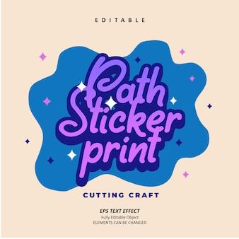 Ścieżka naklejki drukowanie cięcie rzemiosło fioletowy efekt tekstowy edytowalny wektor premium