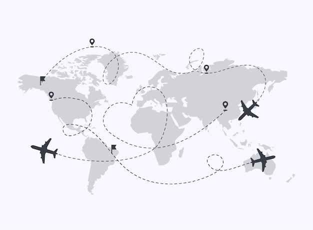 Ścieżka samolotów z ilustracją pinezek lokalizacji