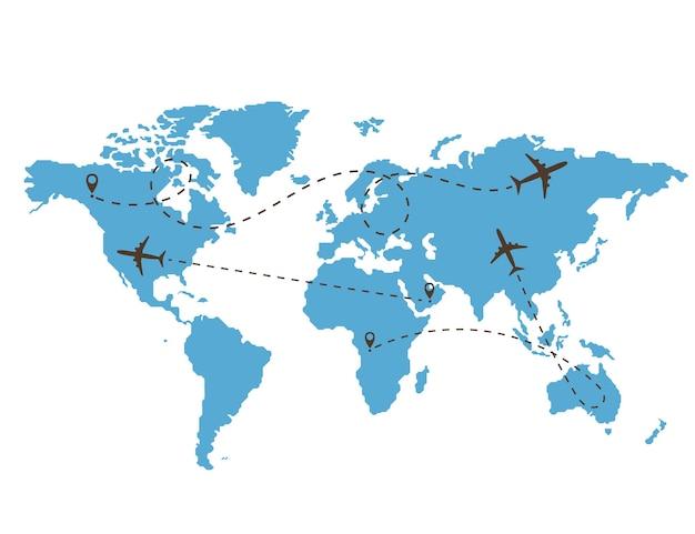 Ścieżka samolotu na tle mapy świata. zestaw śladów ikon samolotu. liniowy tor samolotu pasażerskiego. ilustracja wektorowa.