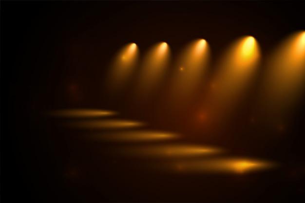 Ścieżka złotych reflektorów w stylu perspektywy