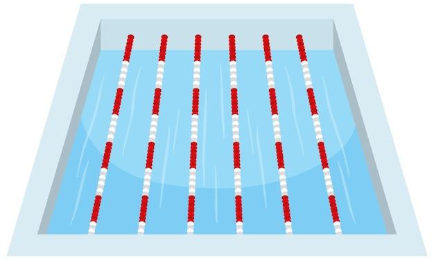 Ścieżki do kąpieli w basenie sportowym na białym tle