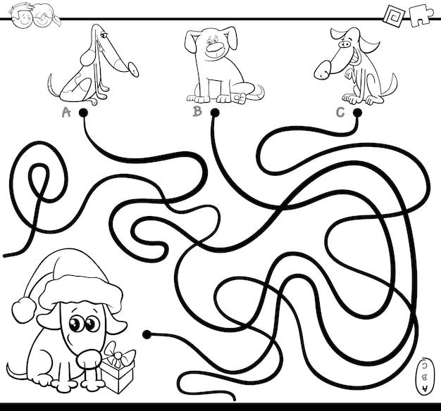 Ścieżki labiryntu z psami do kolorowania