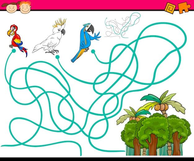 Ścieżki lub labirynt gry kreskówki