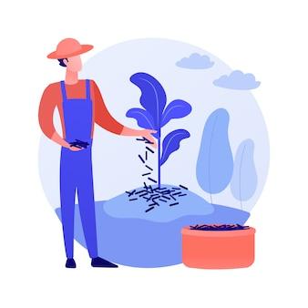 Ściółkowanie roślin streszczenie wektor ilustracja koncepcja. przykrycie gleby, ochrona roślin, zwalczanie chwastów, zatrzymywanie wilgoci, rabata ogrodowa, zrębki, tkanina krajobrazowa, abstrakcyjna metafora dekoracyjna ściółka.