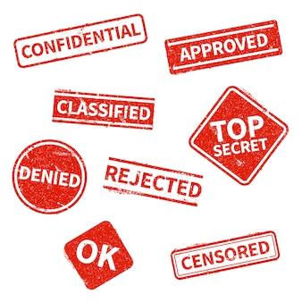 Ściśle tajne, odrzucone, zatwierdzone, sklasyfikowane, poufne, odrzucone i cenzurowane czerwone znaczki grunge na białym tle