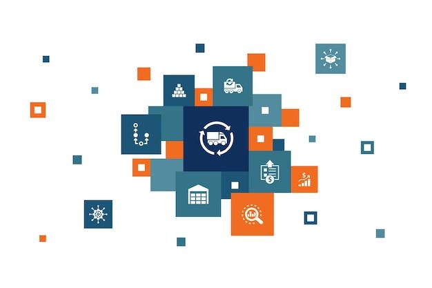Scm infographic 10 kroków w pikselach. zarządzanie, analiza, dystrybucja, zaopatrzenie proste ikony