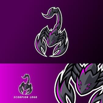 Scorpion czarny pazur maskotka sport logo e-logo szablon dla drużyny gier drużynowych