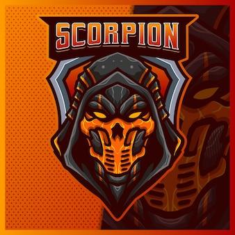 Scorpion ninja maskotka esport logo projektowanie ilustracji wektorowych szablon, logo maski grim reaper dla gry zespołowej streamer youtuber banner twitch discord