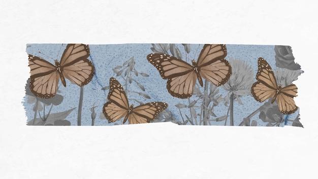 Scrapbooking kolaż diy wystrój w stylu vintage, wektor motyl naklejki na taśmę washi