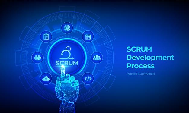Scrum. zwinny proces metodologii rozwoju. metodyka iteracyjnego sprintu. robotyczna ręka dotykająca interfejs cyfrowy.