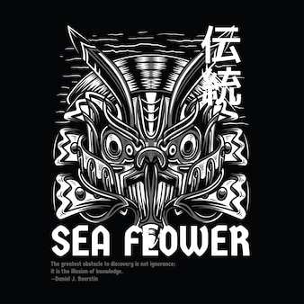 Sea flower black and white