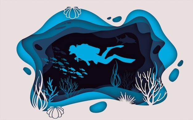 Sea life paper blue