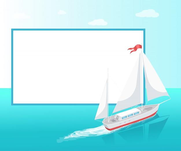 Sea trip poster frame modern yacht marine ship