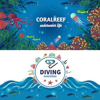 Sea underwater life horizontal banners