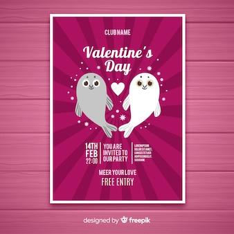 Seals valentine party plakat