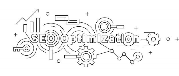 Search engine optimization flat line design concept