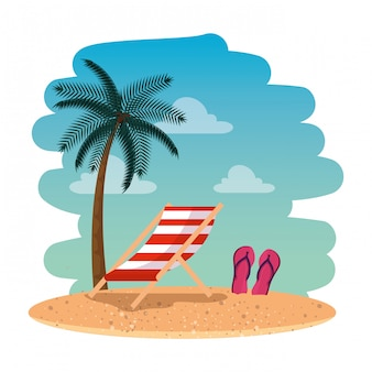 Seascape lato plaża z krzesłem i sandałami