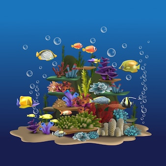Seascape skały i rośliny. podwodny widok z piaskiem i wodorostami, ryby unoszące się w pobliżu dna oceanu. ilustracja przyrody obrazu wodnego
