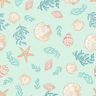 Seashell bezszwowy wzór. przegrzebek.