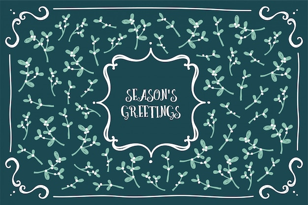 Seasons greetings card classic i kobiecy design jemioły