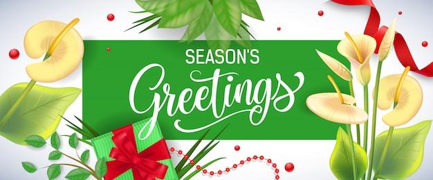 Seasons pozdrowienia napis w zielonej ramce z lilii aron