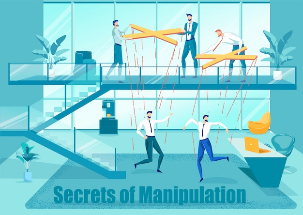 Secretes of manipulation in business flat poster