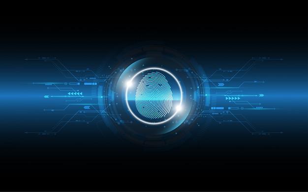 Security cyber digital concept fingerprint scan streszczenie technologii tle ochrony systemu innowacji