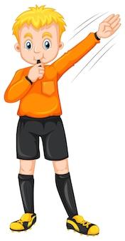Sędzia dmuchający w gwizdek i wykonujący gest