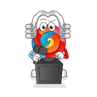 Sędzia lollipop trzyma ilustrację młoteczka