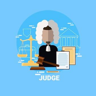 Sędzia mężczyzna ikona sprawiedliwość i awatar pracownika prawnego