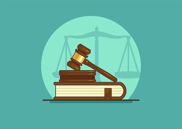 Sędzia młotek na książce z wagą. pojęcie sprawiedliwości.