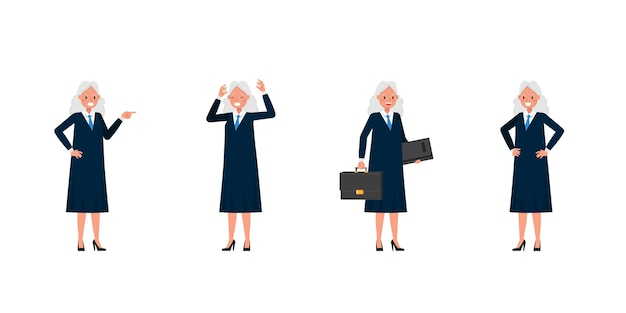 Sędzia postać kobiety. prezentacja w różnych działaniach.