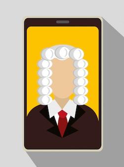 Sędzia prawa i sprawiedliwości na smartfonie