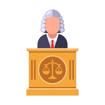 Sędzia trybunału wydaje wyrok. ilustracja płaski charakter.