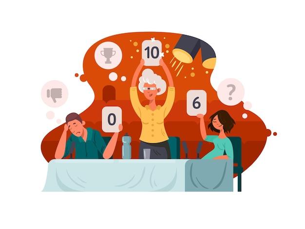 Sędzia w konkursie telewizyjnym. grupa sędziów wystawia ocenę. ilustracji wektorowych