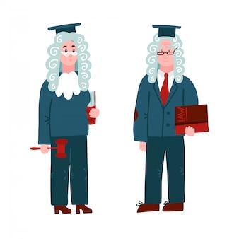 Sędzia w peruce - mężczyzna i kobieta. zestaw znaków z książkami i młotem na potrzeby procesu sądowego i praw ochronnych obywatela.