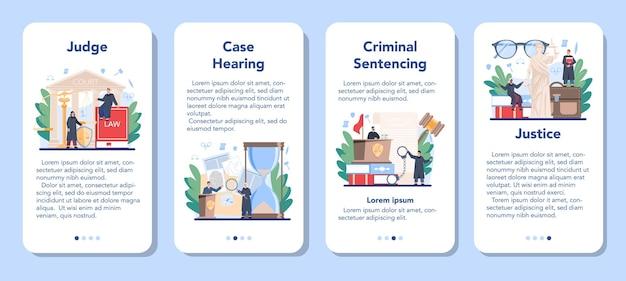 Sędzia zestaw banerów aplikacji mobilnej. pracownik sądowy opowiada się za sprawiedliwością i prawem. sędzia w tradycyjnej czarnej szacie rozpatruje sprawę i wydaje wyrok. idea sądu i kary.