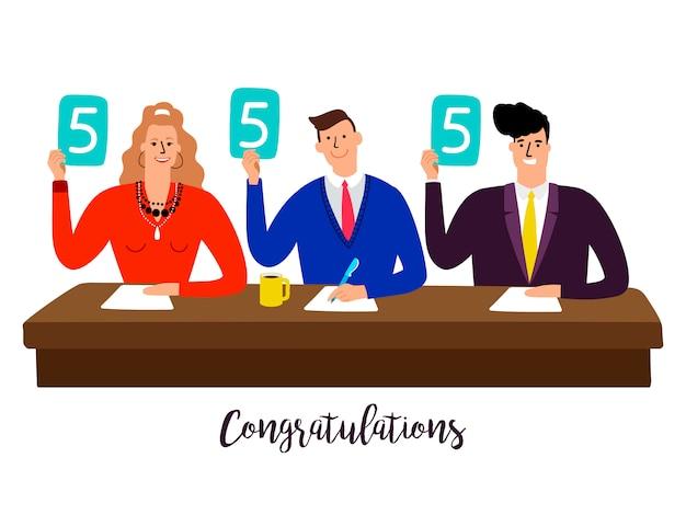 Sędziowie konkursowi z panelami wyników przy stole