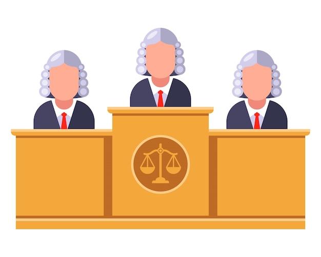 Sędziowie siedzą przy stole i rozstrzygają sprawę karną. płaska ilustracja.
