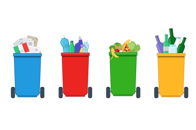 Segregacja odpadów na kolorowe kosze na śmieci