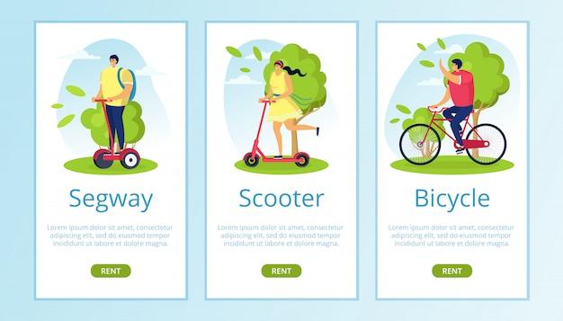 Segway, skuter, wypożyczalnia rowerów do podróży ekologicznych na ilustracji przyrody. nowoczesny miejski styl życia na technologicznym transporcie, pęd do aktywnej jazdy mobilnej. postać kobiety mężczyzny w pojazd elektryczny.