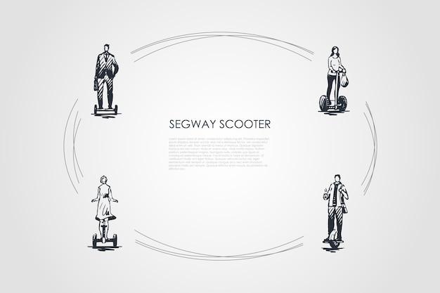 Segway skutery ręcznie rysowane cykl