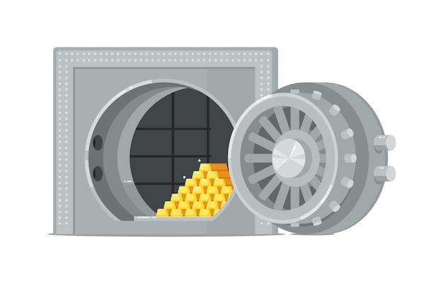 Sejf w skarbcu banku z otwartymi drzwiami i wlewkami złota na białym tle
