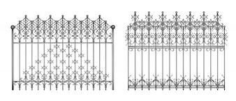 Sekcje dekoracyjne kute ogrodzenia lub bramy z eleganckim, retro ornament realistyczny